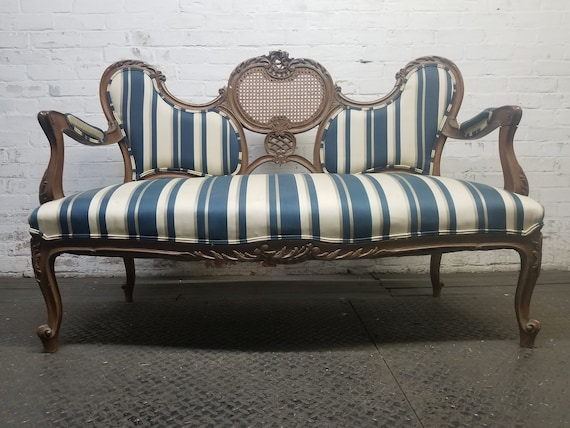 Brilliant French Provincial Vintage Loveseat Unique Rare Antique Settee Available For Customization And Fabric Hollywood Regency Sofa Machost Co Dining Chair Design Ideas Machostcouk