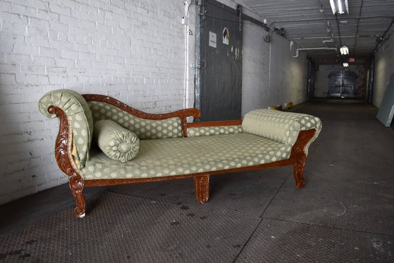 Miraculous Antique Teak Victorian Chaise Lounge Vintage Green Loveseat Hollywood Regency Sofa Couch Ready For Your Choice Of Fabric Creativecarmelina Interior Chair Design Creativecarmelinacom