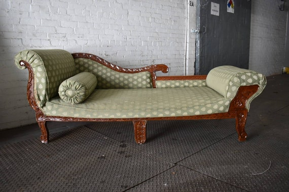 Superb Antique Teak Victorian Chaise Lounge Vintage Green Loveseat Hollywood Regency Sofa Couch Ready For Your Choice Of Fabric Creativecarmelina Interior Chair Design Creativecarmelinacom