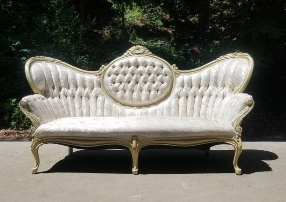 Brilliant Antique Victorian French Provincial Sofa Vintage Ivory Brocade Couch White Carved Wood Loveseat Ready For Your Choice Of Fabric Theyellowbook Wood Chair Design Ideas Theyellowbookinfo