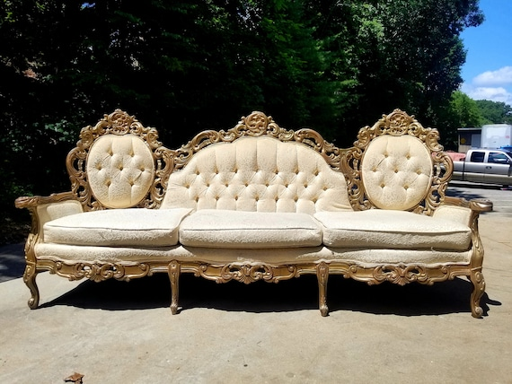 Awesome Reserved For Evelyn Antique Victorian Gold And White Brocade Sofa Vintage French Gold Ivory Couch Italian Baroque Loveseat Theyellowbook Wood Chair Design Ideas Theyellowbookinfo