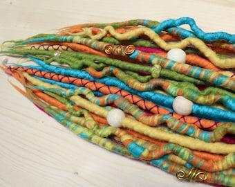 DE Merino Wool Dreadlocks, Wool Dreads, Spring colors, Mookley Dreadlocks