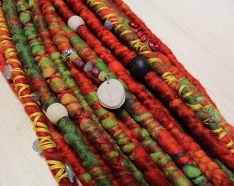 DE Merino Wool Dreadlocks, Wool Dreads, Autumn Red, Labradorite Gemstones, Mookley Dreadlocks