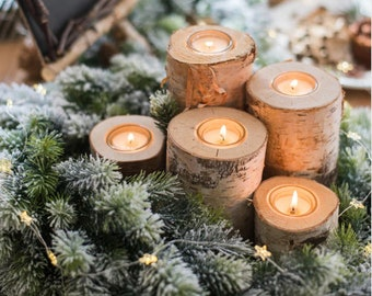 rustic christmas candles christmas centerpiece for table christmas table decor christmas decorations rustic holiday decor set of 5 - Christmas Centerpiece Decorations