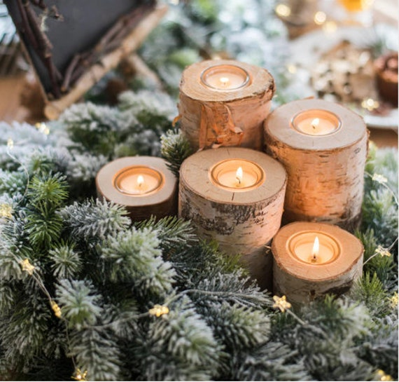 Rustic Christmas candles Christmas Centerpiece for table Christmas Table  decor Christmas Decorations Rustic Holiday decor Set of 5