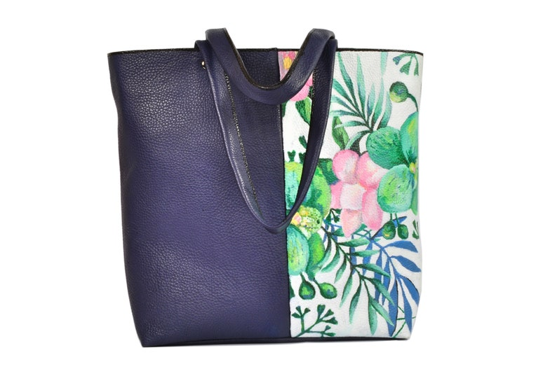 Handmade leather bag with hand painted flowers by image 0