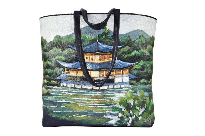 Hand painted leather bag with Japanese motif Unique handmade image 0
