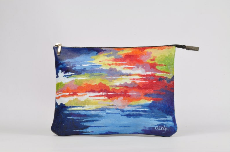 Leather cosmetic bag hand-painted cosmetic bag painted image 0