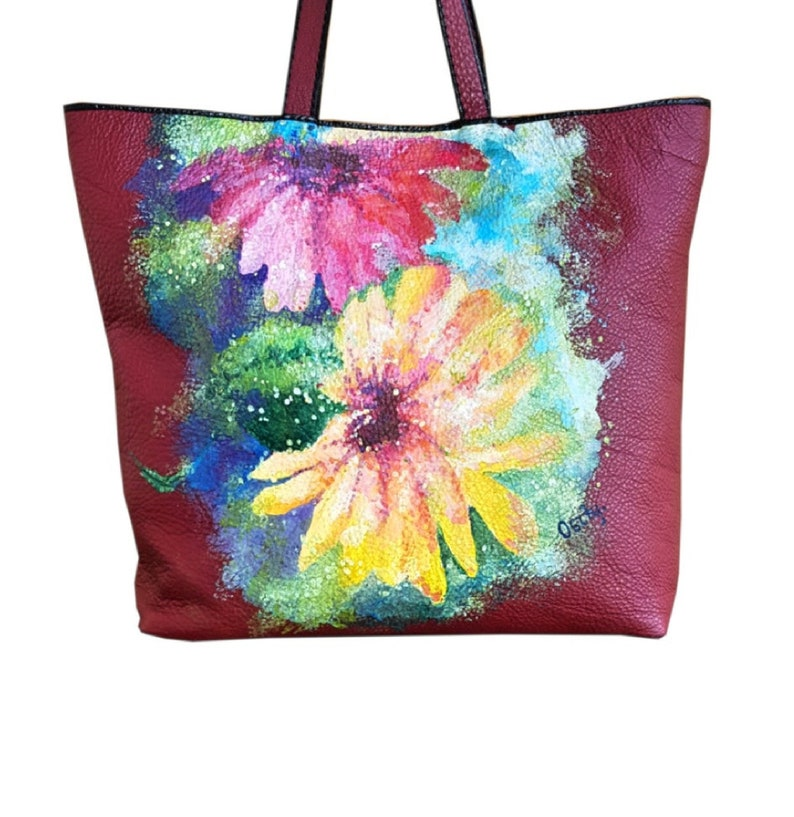 Hand painted leather bag with flowers Handmade shopper bag image 0