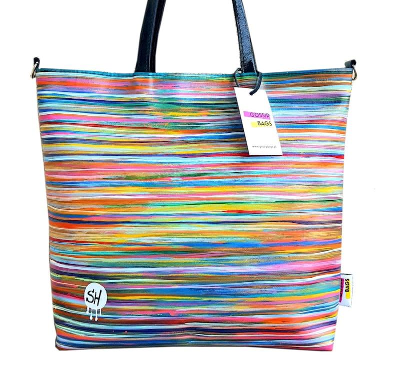 Handmade leather shopper bag hand-painted by Szymon image 0
