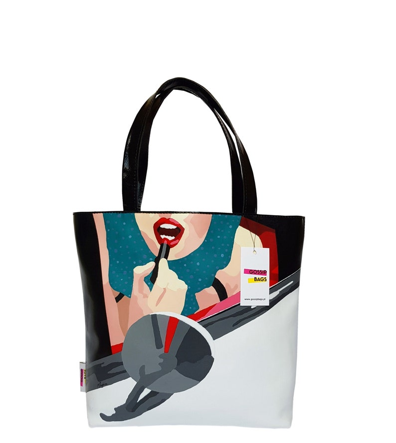 Handmade leather shopper bag hand painted by Malwina Jagora image 0
