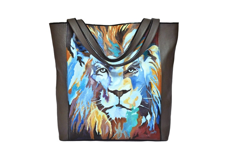 Handmade leather bag with painted lion hand-painted by artist. image 0