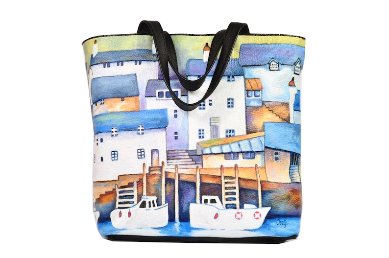 Handmade leather shopper bag hand painted by artist Greek image 0