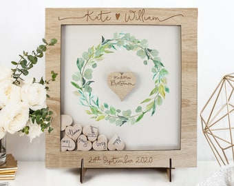 Alternative Guestbook Wedding Watercolor Wood Dropbox Frame with Hearts Guest Book Rustic Floral Gift Alternative Drop Box Wood Gift