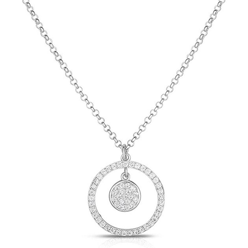 925 Sterling Silver And Cubic Zirconia Stones Cluster Dangling Circle Style Pendant