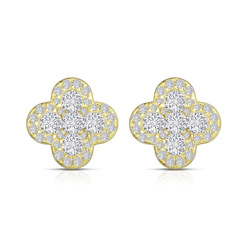 Unique Royal Jewelry 925 Sterling Silver Invisible Set Four Leaf Clover Earrings