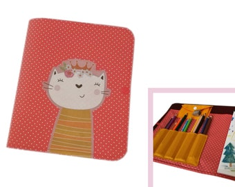 painting folder for on the go children creative set pens block book drawing book travel case travel game cat coral red