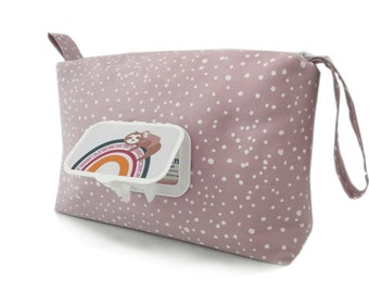 Diaper bag wet wipe box diaper bag with wet wipe compartment mauve sprinkles