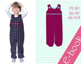 Ebook Schnittmuster Latzhose Wohlfühlhose Hose mit Trägern Schlupfhose Spielhose Baby Kleinkind dungarees sewing pattern