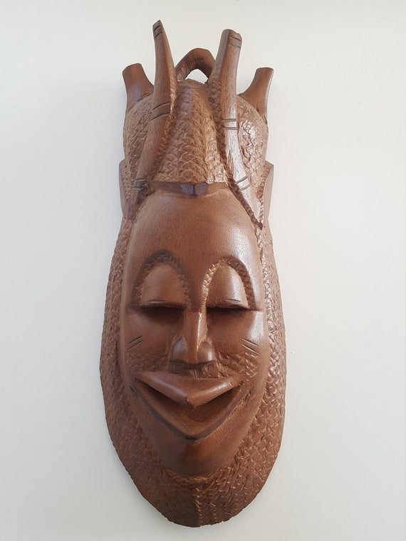 African Wood Mask Hand Carved Large And Heavy May Be Used Etsy