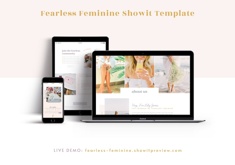 Fearless Feminine Showit Website Template  Made for Coaches image 0