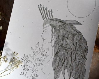 """Illustration """"The Wild Woman"""" in A4 format"""
