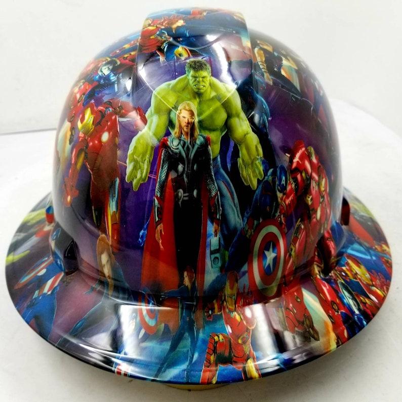 Full brim hydro dipped custom hard hat in marvel superheroes osha approved  superhero