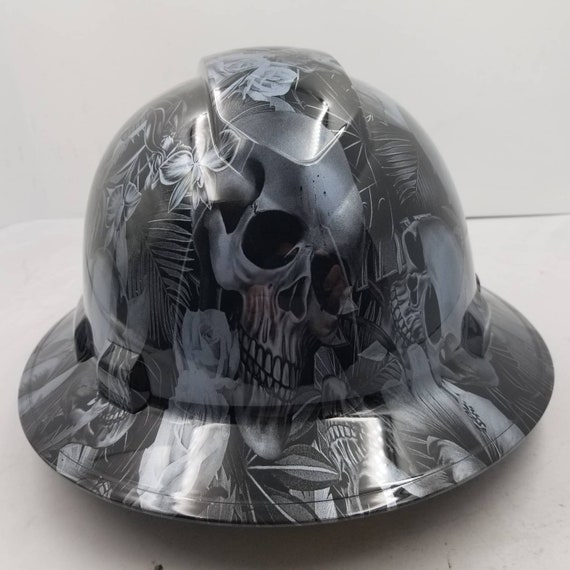 Full brim hydro dipped custom hard hat, dipped in paradise lost skullsnew  awesome details gun metal looking hat