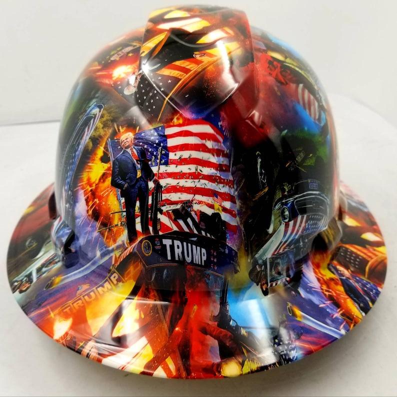 Full brim hydro dipped custom hard hat in trump make America great again  osha approved maga