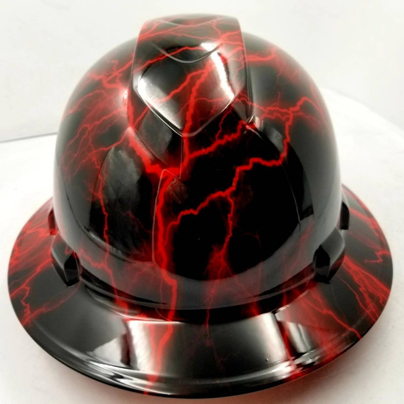 Full brim hydro dipped custom hard hat in candy red lightning osha approved  lightning rod red