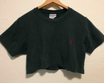 Army Green Polo Ralph Lauren Crop Top