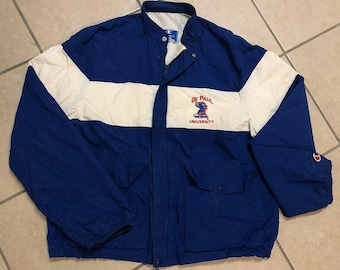 Vintage Embroidered Champion De Paul University Zip-Up Windbreaker