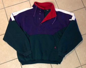 Vintage Embroidered Color Block Cherokee Sport Sweatshirt