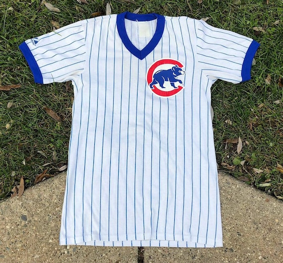 b01abc10 Vintage Majestic Chicago Cubs Striped Baseball Tee | Etsy