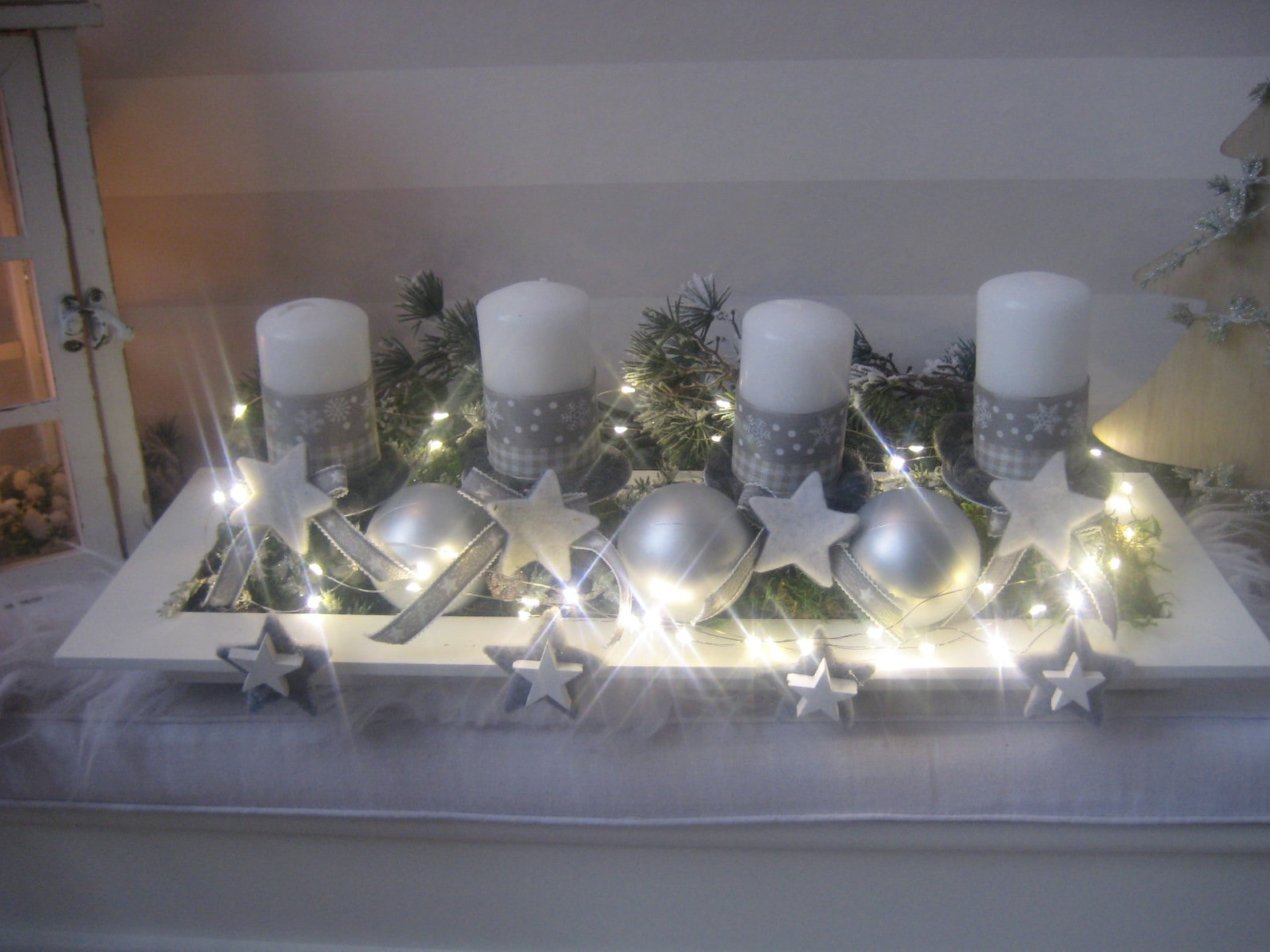 reusable LED Advent wreath with candles, SOFORT available, battery operated
