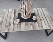 Low table made of wood and slate, side table,