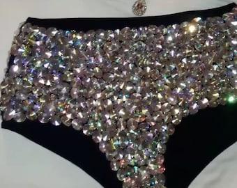 1a1eb079bcce3 Crystal black high waist swimsuit Panties Sexy black Bling swimsuit Panties  shiny black swimsuit Panties Crystal Bikini dazzled swimsuit