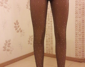 e6b98205e78bf Crystal Fishnet tights Women Brown Rhinestone Tights Stockings Bling Shiny  Pantyhose Crystallized Luxury Sparkle Stockings Handmade Tights