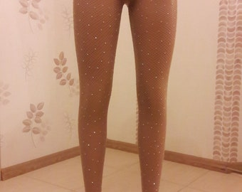 720d2d283bb56 Crystal Fishnet tights Women Nude Rhinestone Tights Stockings Bling Shiny  Pantyhose Crystallized Luxury Sparkle Stockings Handmade Tights