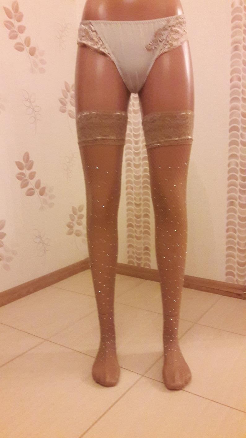37a1e094ba13e5 Crystal Fishnet Stockings Women beige Rhinestone Fishnet   Etsy