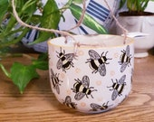 Sass Belle Busy Bees Hanging Planter Plant Pot Flower Pot - 11.5cm - perfect for small houseplants