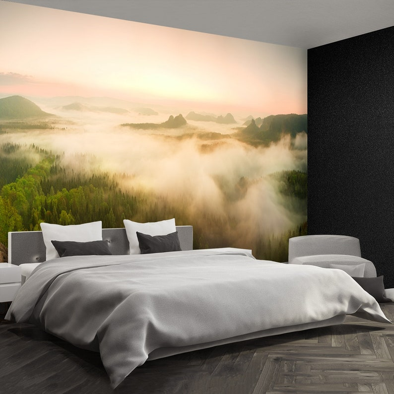 Rocky Mountains repositionable wall mural Fantastic dreamy sunrise on rocky mountains with view.... wallpaper Landscape misty panorama