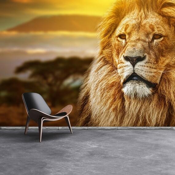 Lion Cat Repositionable Photo Wallpaper Mural Lion Portrait Etsy