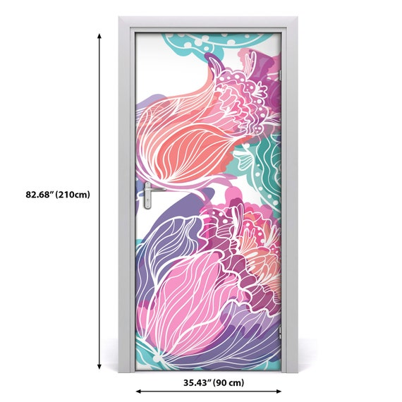 3D Home Art Door Self Adhesive Removable Sticker Flowers Tropical leaves  DS/_415