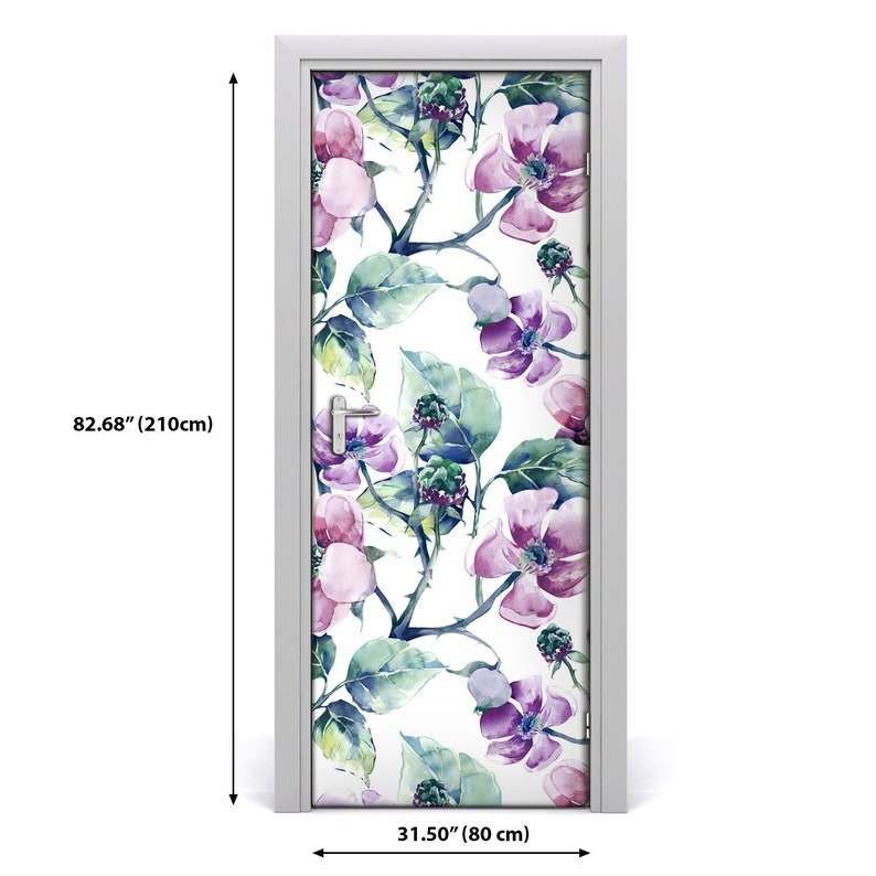 3D Home Art Door Self Adhesive Removable Sticker Flowers Blackberry flowers  DS/_1623