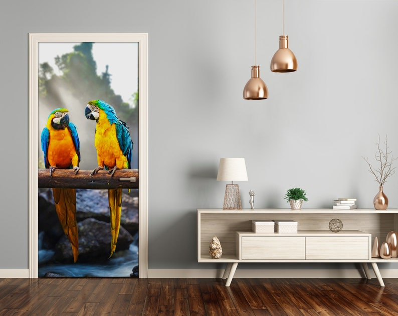 Removable Home Decor Door Sticker Self Adhesive Decal Animals Macaw parrots  DS/_1958