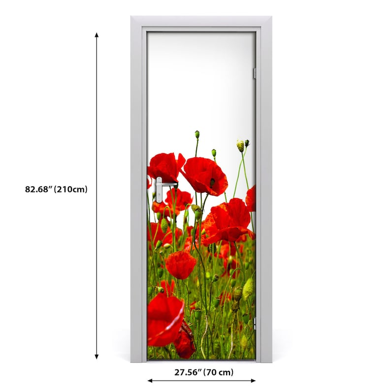 3D Home Art Door Self Adhesive Removable Sticker Flowers Field of poppies  DS/_1728