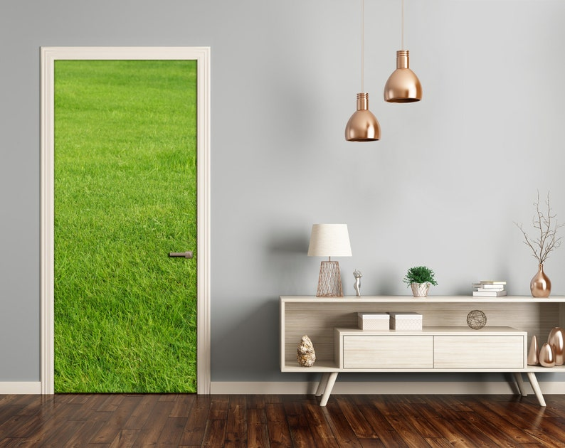 Home Mural Door Self Adhesive Removable Sticker Landscapes green grass  DS/_1654