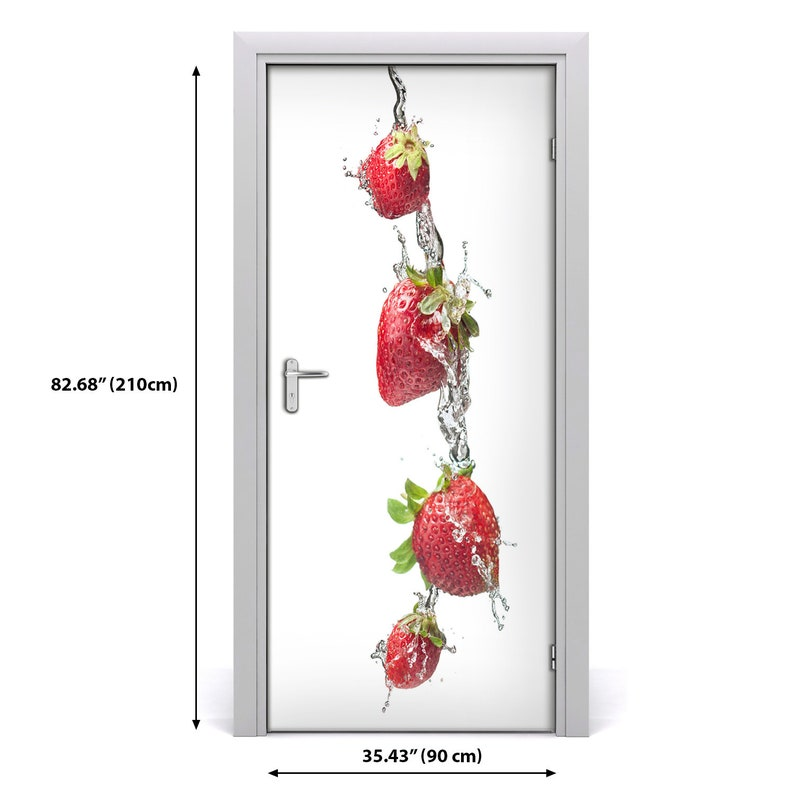 3D Home Art Door Self Adhesive Removable Sticker Decal Food strawberries  DS/_1916