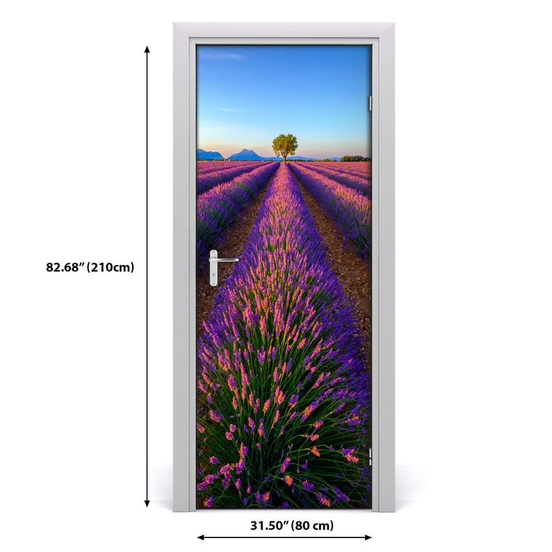 Home Mural Door Self Adhesive Removable Sticker Landscapes Lavender field  DS/_1554
